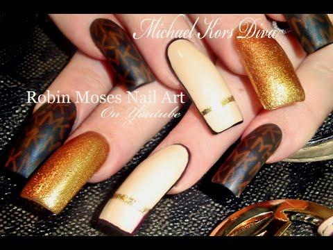Michael Kors Nails   DIY Designer Nail Art   Long Nail DIVA tutorial