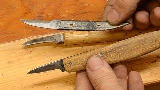 Chip carving knife from an old saw blade