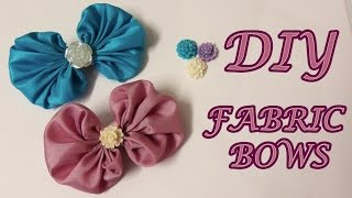 DIY fabric bows, fabric hair bows tutorial, how to