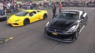 Nissan GTR R35 vs Lamborghini Huracan Novitec NLar