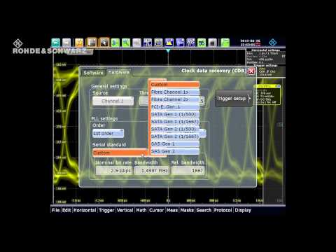 Eye diagram measurement with the hardware clock data recovery of the R&S®RTO digital oscilloscope