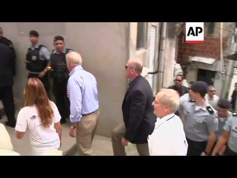 US vice president visits shanty town in Rio de Janeiro