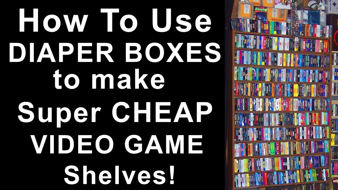 How to use diaper boxes to make super cheap video game for How to make cheap bookshelves