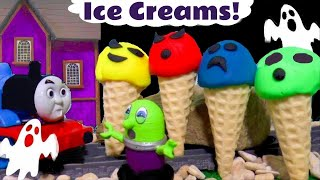 Funny Funlings Ghostly Play Doh Ice Creams at the Haunted Mansion with Thomas Train TT4U