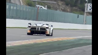 FERRARI FXX K INVASION!! Fly-by's, downshifts & flames