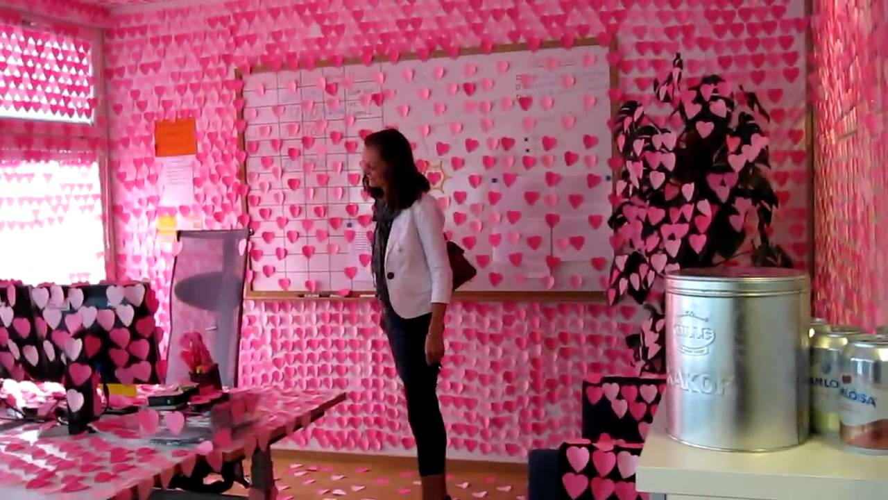 Office Prank Pink Post It Hearts Youtube