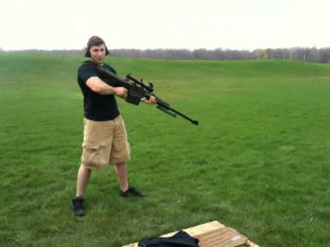 Shoulder firing the Barrett 50 cal M82A1 / M107 sniper rifle