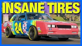 Forza Horizon 4 Customization : The Grippiest Tires EVER!! (Real Nascar Tires)