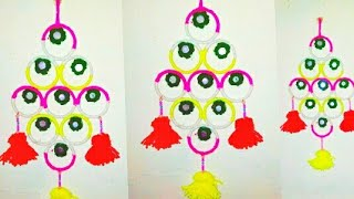 How to reuse old bangles at home/old bangles wall hanging craft/broken bangles wall hanging/home dec