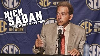 Nick Saban speaks to a packed house during Day 3 of SEC Media Days