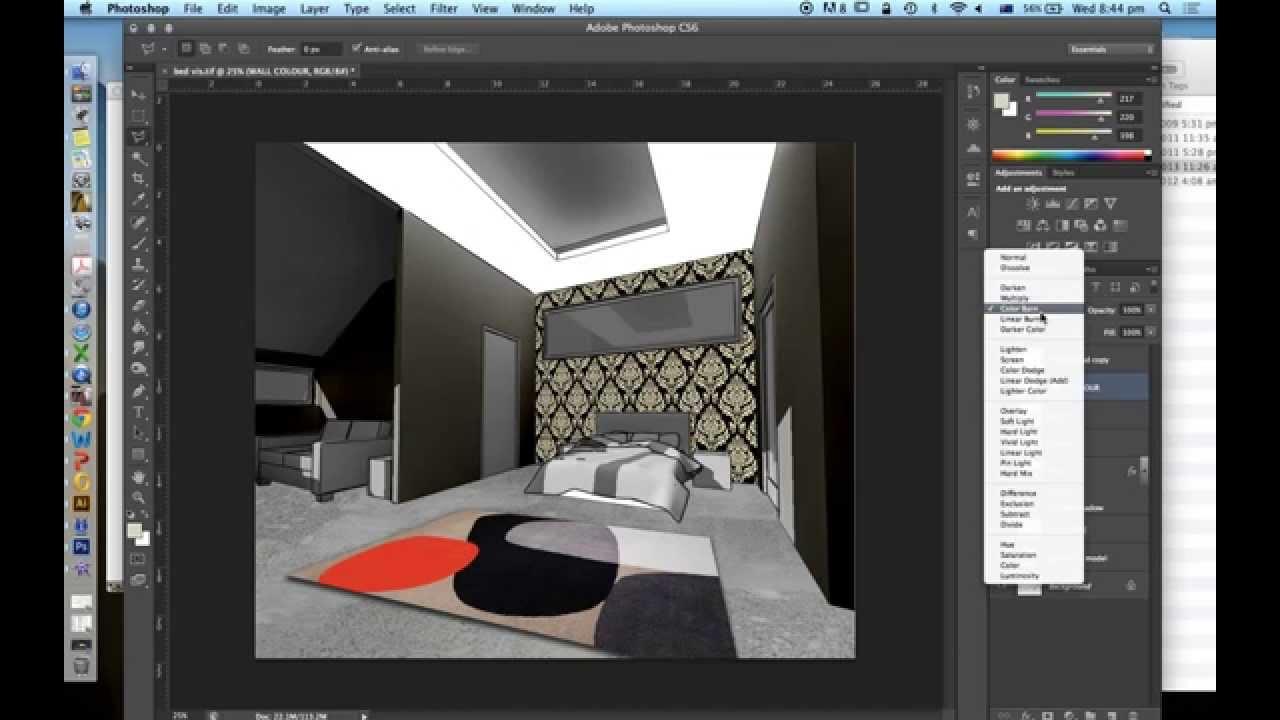 Photoshop Interior Design Visualisation Part 3 Youtube