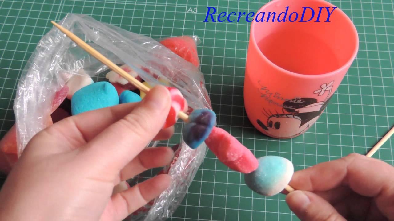 Como hacer una brocheta de chuches para cumplea os youtube - Como hacer figuras con chuches ...