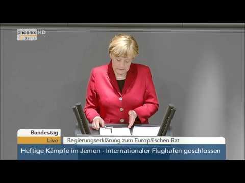 Bundestag: Regierungserklärung zum Europäischen Rat von Angela Merkel am 19.03.2015