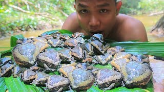 Primitive Technology: Catch and Cook Bullfrog For Food - Cooking in the Forest