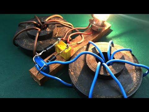 Homemade free energy magnets generator using output 220 volts with light bulbs thumbnail