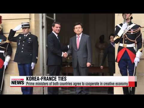 Korea and France agree to cooperate in creative economy   황총리-프랑스총리 회담…″창조경