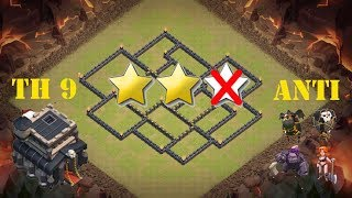 The strongest war base: Base war TH 9 terkuat (replay attact) Juni 2017 - tipe 50