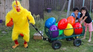 giant chicken, kids pretend play In real Life Surprise Eggs with Toys, les boys tv