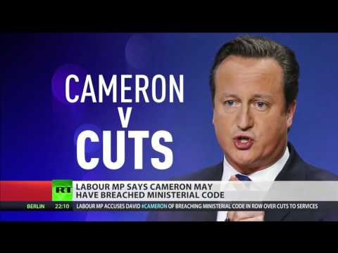 David Cameron ironically criticises his own budget cuts