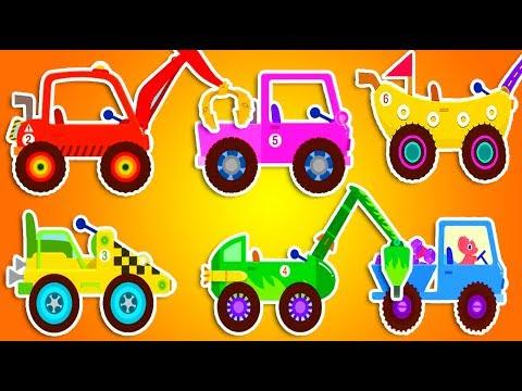 Мультик про машинки все серии подряд 25 МИН. Водитель Динозавр мчится на камазе и грузовике