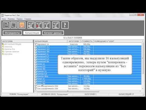 Программа Cbar-PROJECT (Урок 2.5) База данных бара «Категории калькуляций»