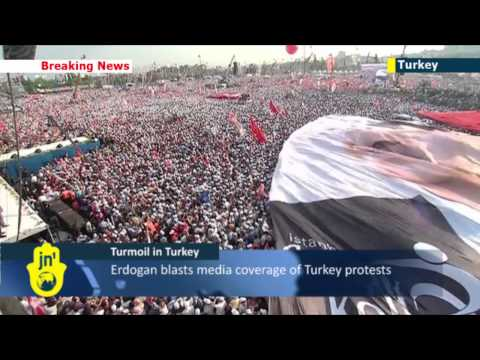 Pro-Erdogan rally: thousands support Turkish prime minister as protest crackdown continues