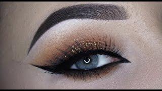 Warm brown glitter cateye makeup tutorial