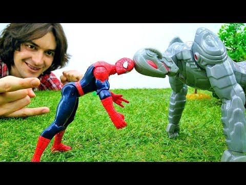 Человек Паук и новое изобретение Альтрона. Видео с игрушками.