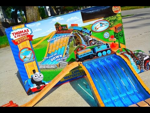 Thomas And Friends Lumber Yard Waterfall Adventure 2014 Wooden Railway Toy Train Review By Mattel video
