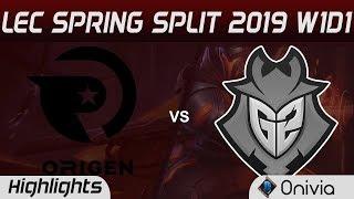 OG vs G2 Highlights LEC Spring Split 2019 Origen vs G2 Esports By Onivia