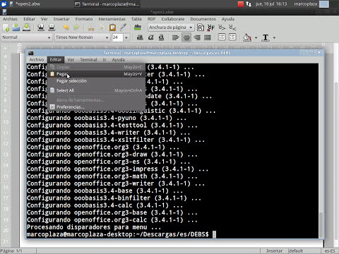 Descargar e Instalar OpenOffice - Español en Linux Xubuntu 12.04