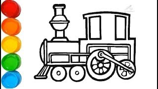 Simple Train Coloring Pages | Learn Colors for Kids and Colouring Page