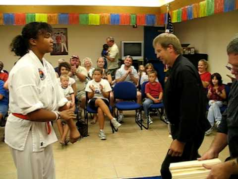McAlester TKD Demonstration - Tomisha (Bad Day) Riddle Palm Strike Board Break Video