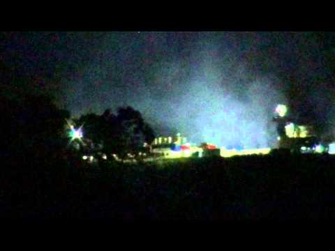 Fracking at night on a gas well pad in New Milton, WV on 5-18-13