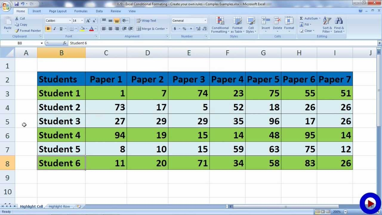 excel conditional formating - create your own rules - complex examples