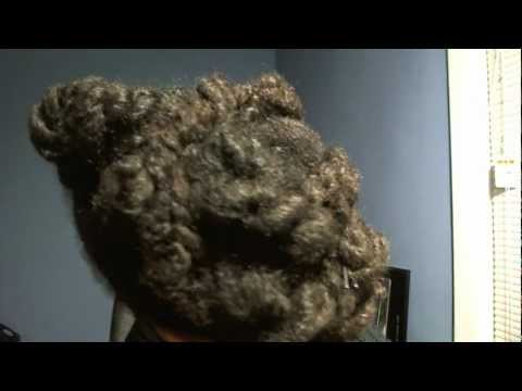 Protective Hairstyles / Chunky Twist Pin UP Ponytail w. Gold Headband Natural Ha
