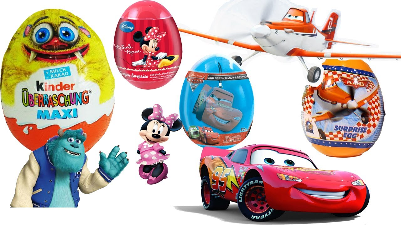 17 eggs unboxing kinder maxi monsters cars planes minnie mouse