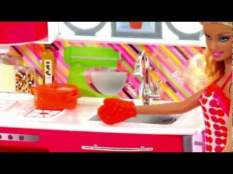 Barbie Dollhouse Toys | Kitchen Set Toy Video Review