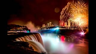 Niagara Falls Night Colors and Fireworks