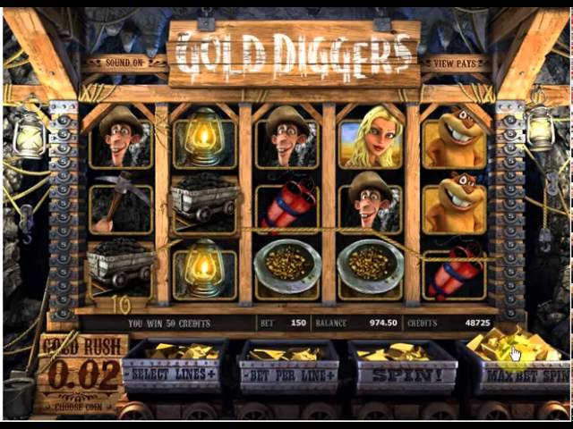 Playing 3D Slot Gold Diggers by BetSoftGaming.com