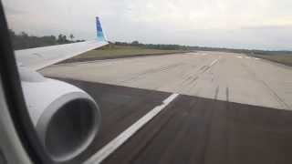 Garuda Indonesia PK-GFX landing at Syamsudin Noor Airport in Banjarmasin