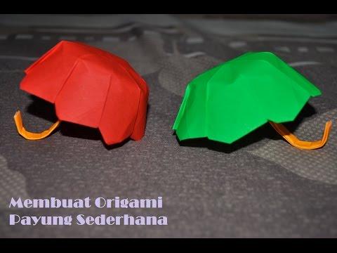 Tutorial membuat Origami payung kertas sederhana