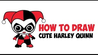 How to Draw Chibi Harley Quinn Suicide Squad Step by Step Drawing Tutorial (Cute / Kawaii)