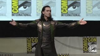 Tom Hiddleston appears as  Loki at San Diego Comic-Con 2013 during Marvel panel