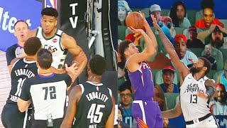 Giannis Wanna Fight Donta Hall After Shove & Devin Booker Craziest Game Winner vs Clippers!