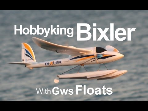 R/c Bixler on Gws floats, Seaplane flying