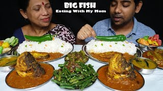Food Big Fish and Vegetables Eating With Basmati Rice (top Food)