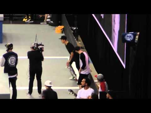 nyjah huston 9 clubs best trick has kelvin hoefler sweating Street League 2015