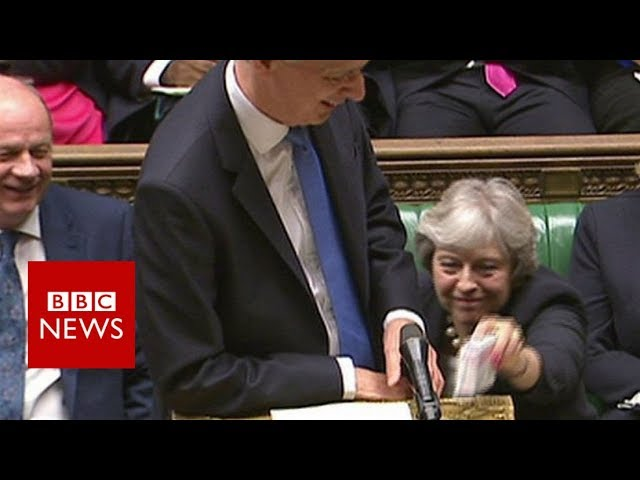 Budget 2017 May hands cough sweets to Hammond - BBC News