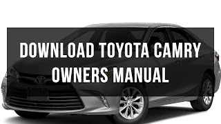 Download Toyota Camry owners manual free pdf
